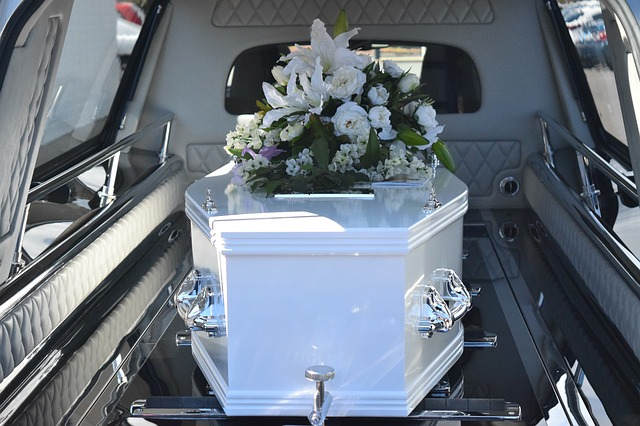 Casket inside Hearse